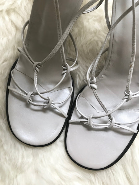 Vintage 1990s pearlescent grey knot-strap wedge sandals