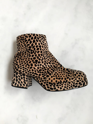 A rare pair of vintage 1990s leopard-print ankle boots in mint, unworn condition. Very Spice Girls!