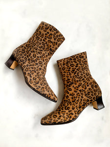 A pair of vintage 1990s leopard-print ankle boots by Etienne Aigner