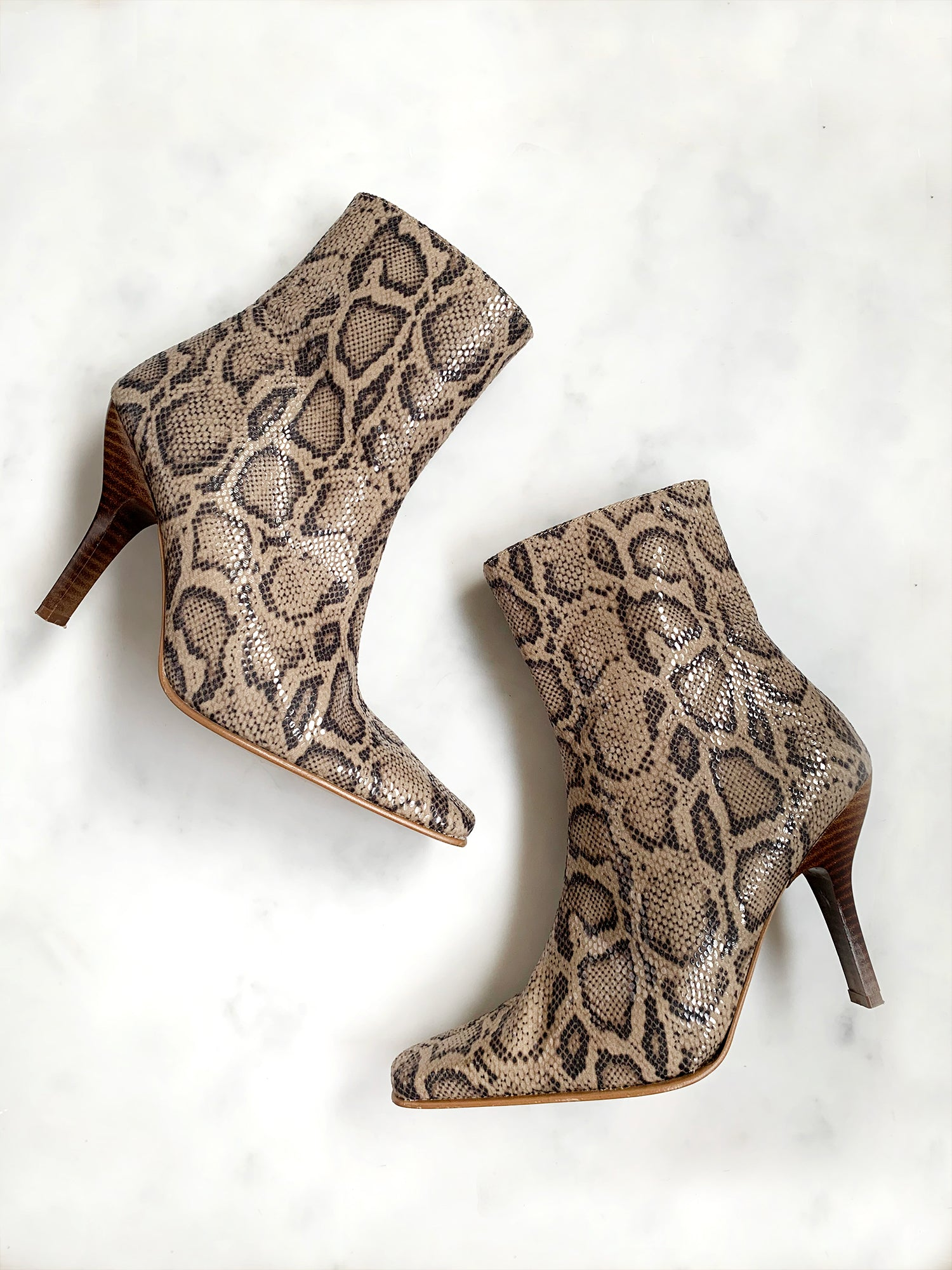 Vintage 1990s python print high heel pointed ankle boots