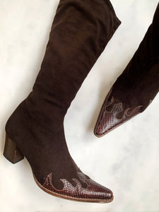 A pair of Italian vintage Y2K chocolate brown cowboy boots with snake detail at the pointed toe