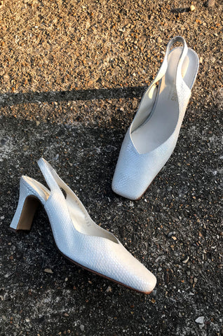 Pale blue slingback shoes with iridescent finish by Human Sea Vintage