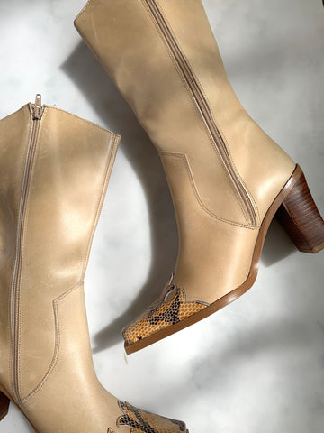 A rare pair of vintage Y2K beige cowboy boots with snake detail at toe