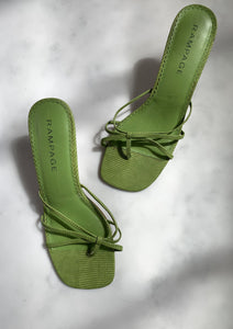 A pair of vintage Y2K lime green strappy kitten mules by Rampage