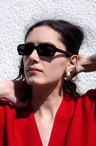 Rosalind Jana wears Giorgio Armani rectangular tortoiseshell sunglasses for Human Sea Vintage