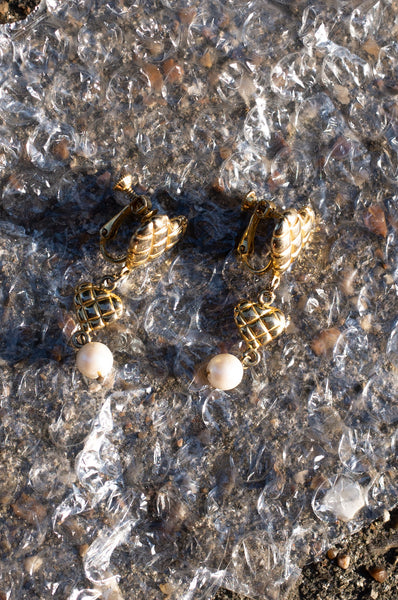 Gold textured heart-shaped clip-on drop earrings by Human Sea Vintage