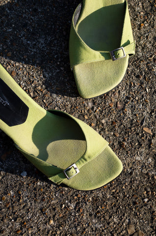 Lime-green buckled strap mules by L.K Bennett at Human Sea Vintage