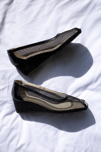 1990s black mesh wedge espadrilles by Human Sea Vintage
