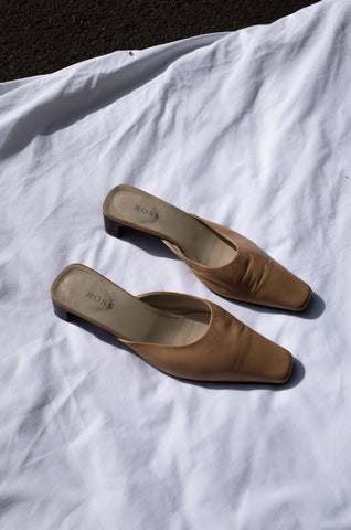 1990s minimalist square toe nude leather low mule sandals by Human Sea Vintage