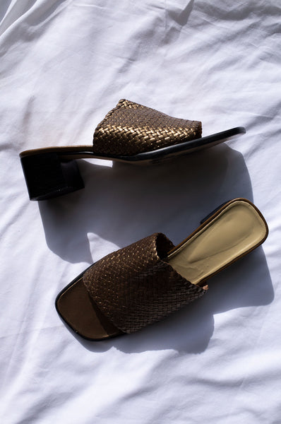 1990s bronze leather woven low mule sandals by Human Sea Vintage