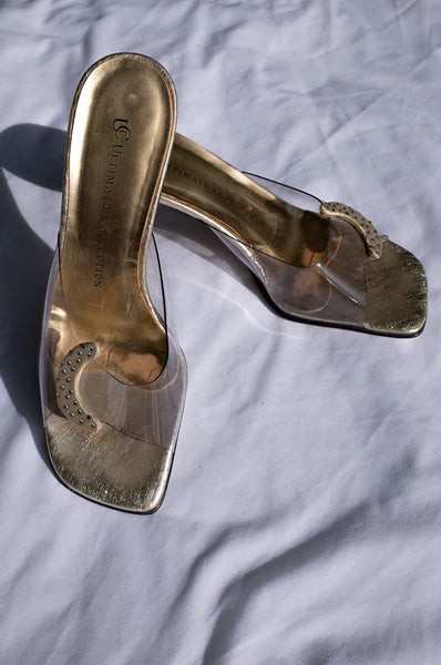 1990s gold lucite vinyl peep toe stiletto mules with diamante moon embellishment by Human Sea Vintage