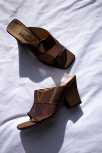1990s Italian brown mesh wedge heel open toe mules by Human Sea Vintage