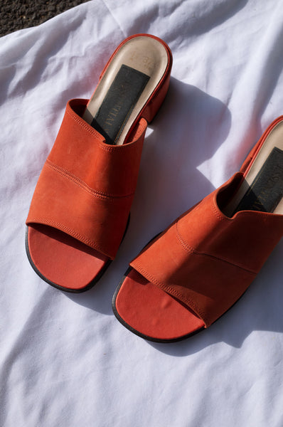 1990s orange suede open toe block heel mules by Human Sea Vintage