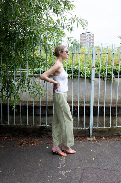 SAGE WIDE LEG TROUSERS