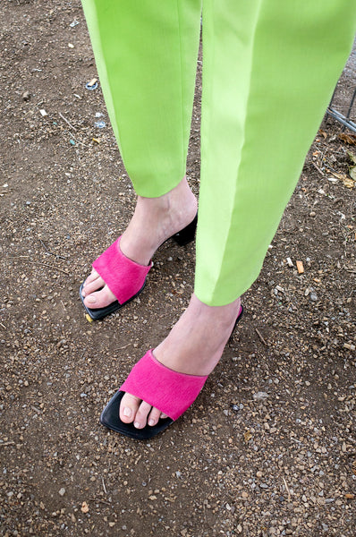 PINK PONY HAIR MULES