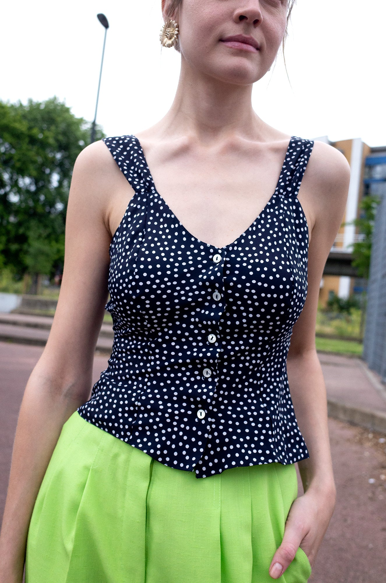 NAVY SATIN DOTTY CAMISOLE