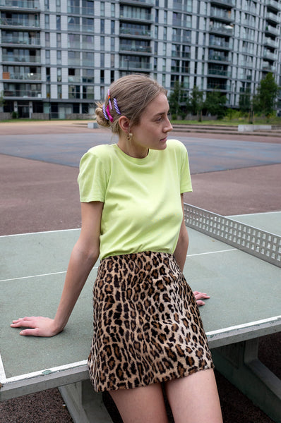 FAUX FUR LEOPARD SKIRT