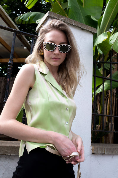 LIME SHIMMER SLEEVELESS BLOUSE