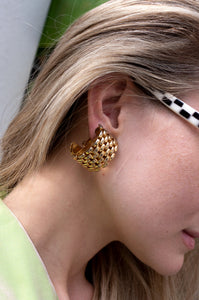 1980s oversized gold chain-link clip on earrings by Human Sea Vintage