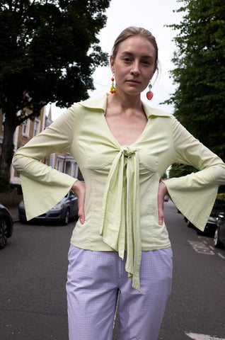 1990s mint green cotton fluted sleeve pussy bow blouse by Human Sea Vintage