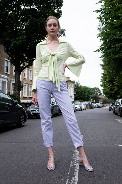1990s Escada Sport lilac gingham straight-leg trousers by Human Sea Vintage