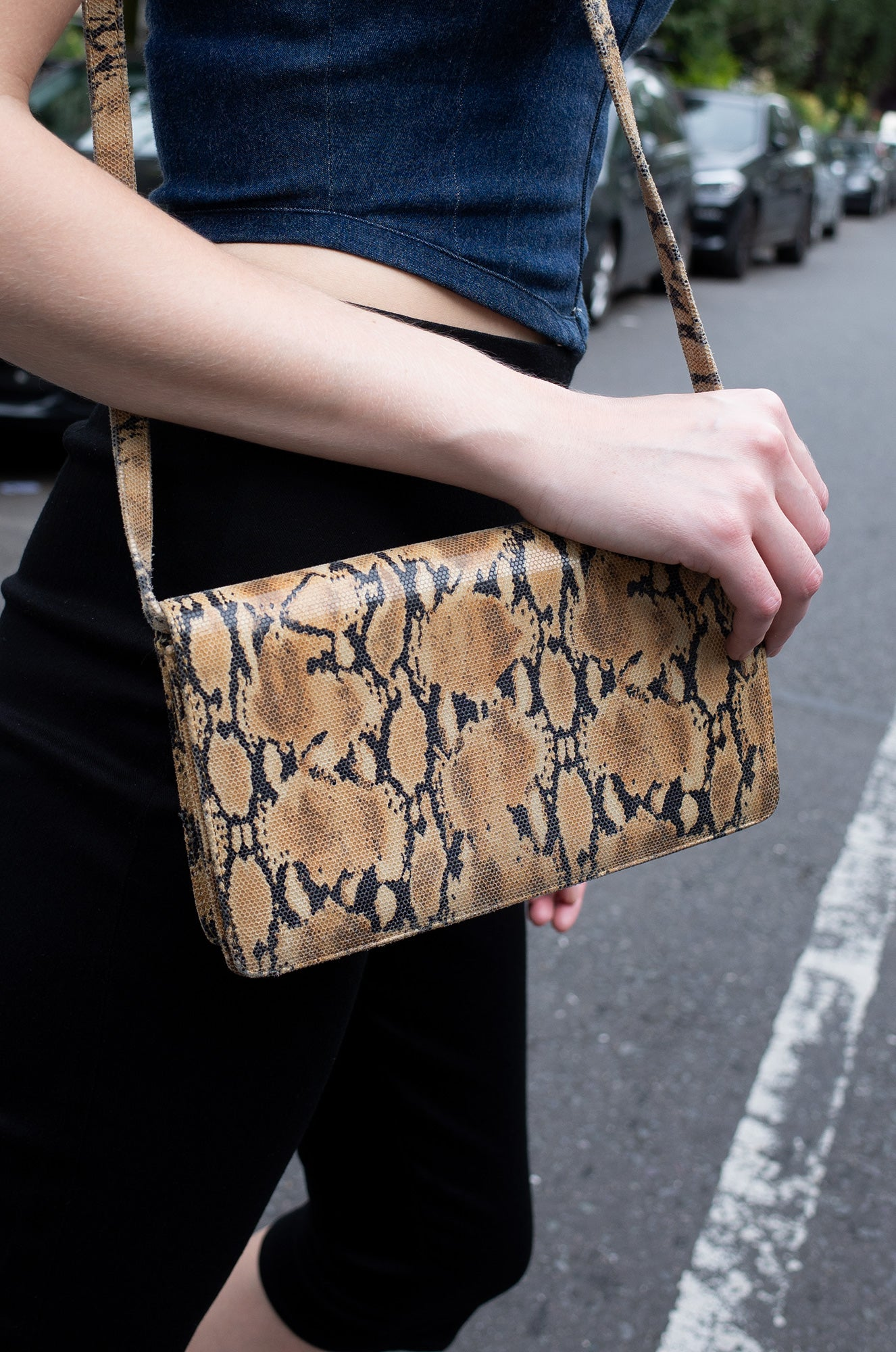 PYTHON PRINT LEATHER BAG