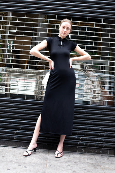 BLACK MANDARIN COLLAR DRESS