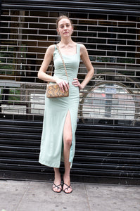 SEAFOAM CREPE EVENING DRESS