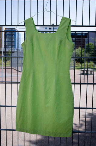 LIME COTTON SHIFT DRESS