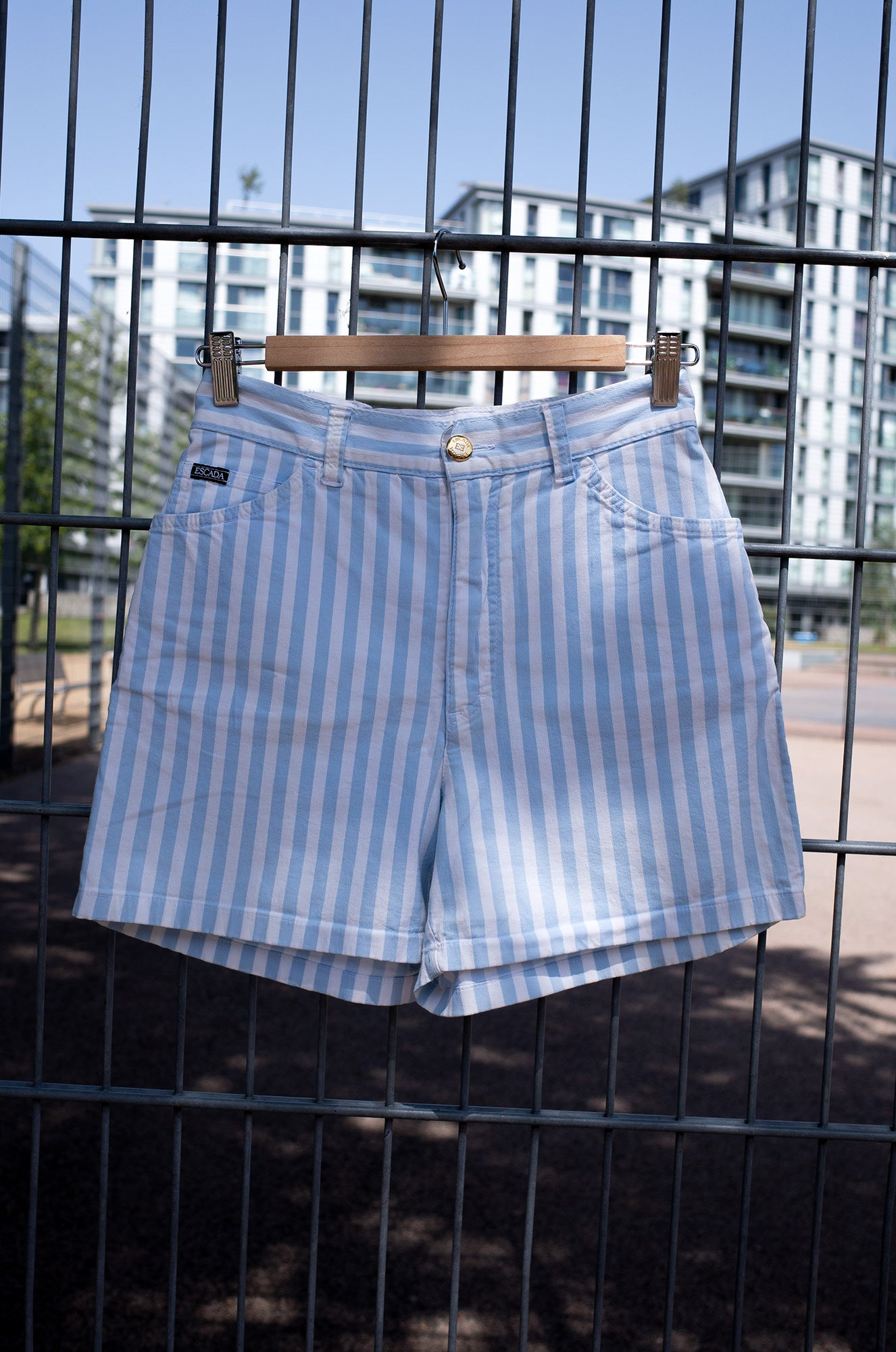 ESCADA STRIPED COTTON SHORTS