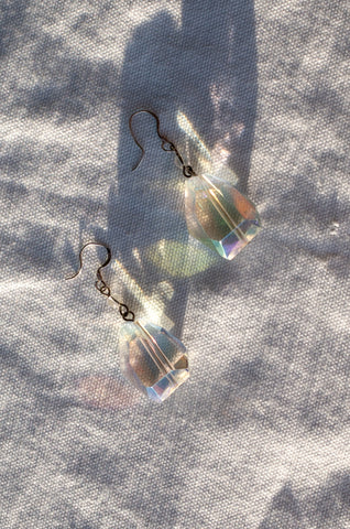 1990s large faceted crystal glass drop earrings by Human Sea Vintage