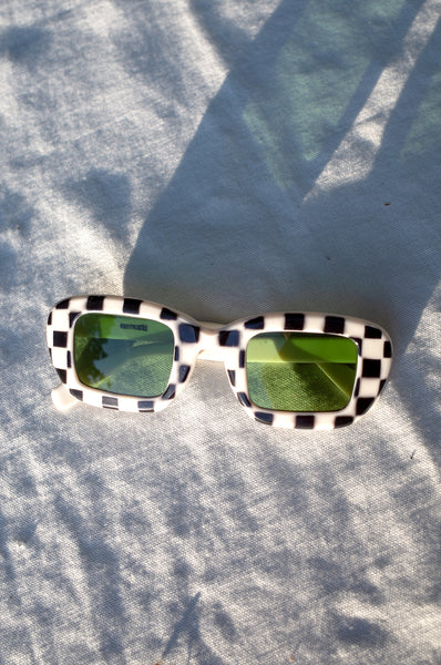 ITALIAN MOD CHECKED SUNGLASSES