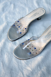 Y2K crystal gem embellished clear vinyl low open-toe mules by Human Sea Vintage
