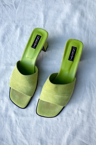 LIME GREEN SUEDE MULES