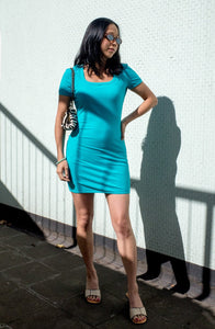 Vintage Moschino Jeans 1990s turquoise bodycon mini dress