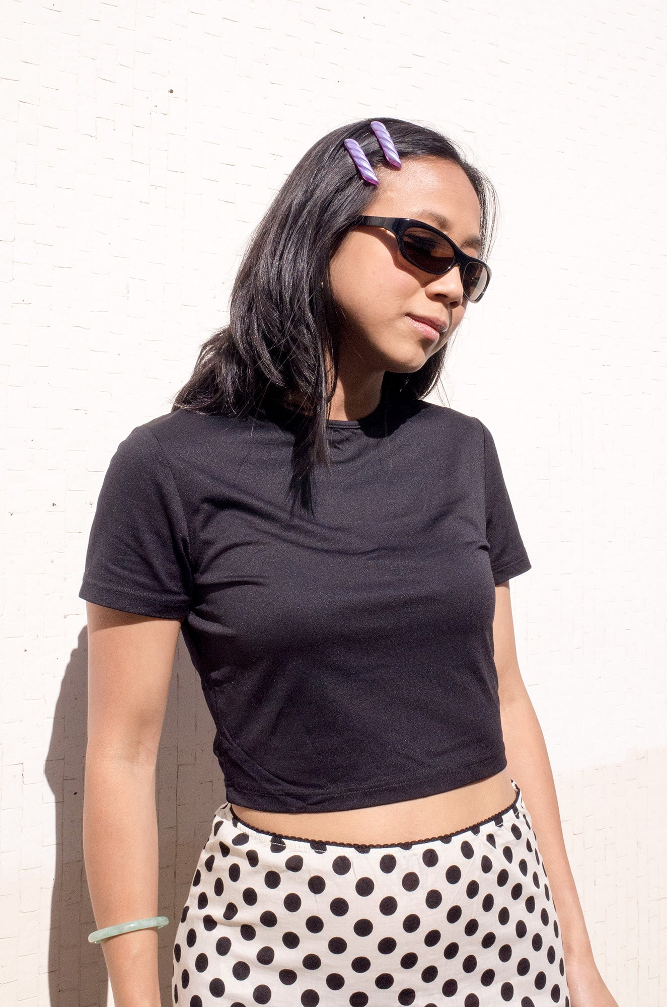 Vintage 1990s simple short-sleeve crop top in black