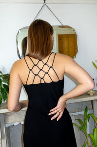 BLACK KNOTTED SLIP DRESS
