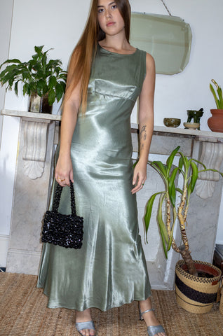Vintage 1990s sage green satin sleeveless bias-cut evening dress