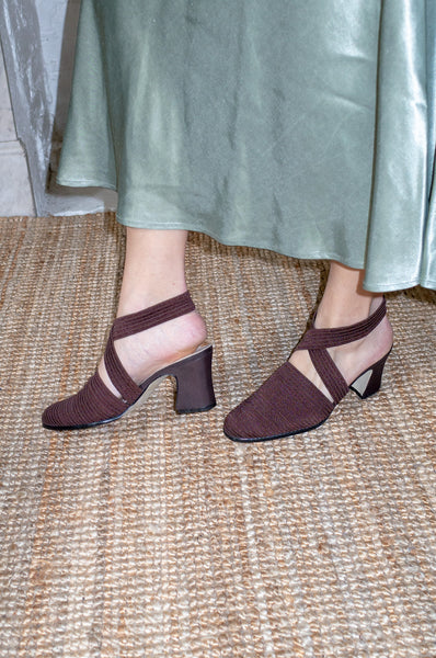 vintage 1990s brown ribbed fabric block heels with elasticated twisted ankle strap