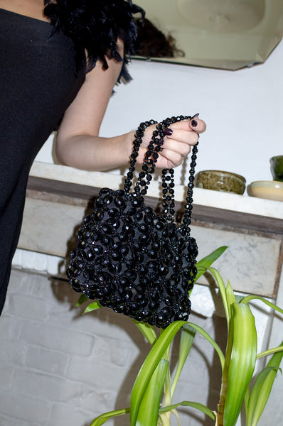 BLACK BEADED EVENING BAG
