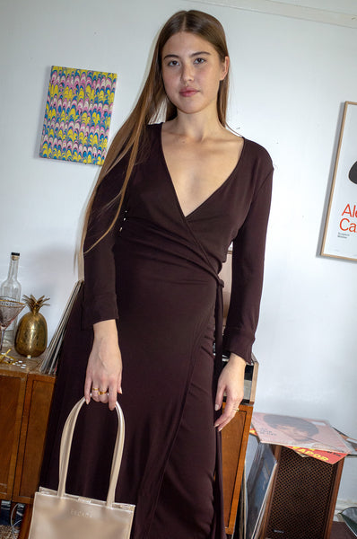 Vintage 1990s brown Diane Von Furstenburg wrap dress