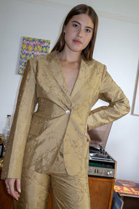 Vintage 1990s gold silk beaded ladies trouser suit