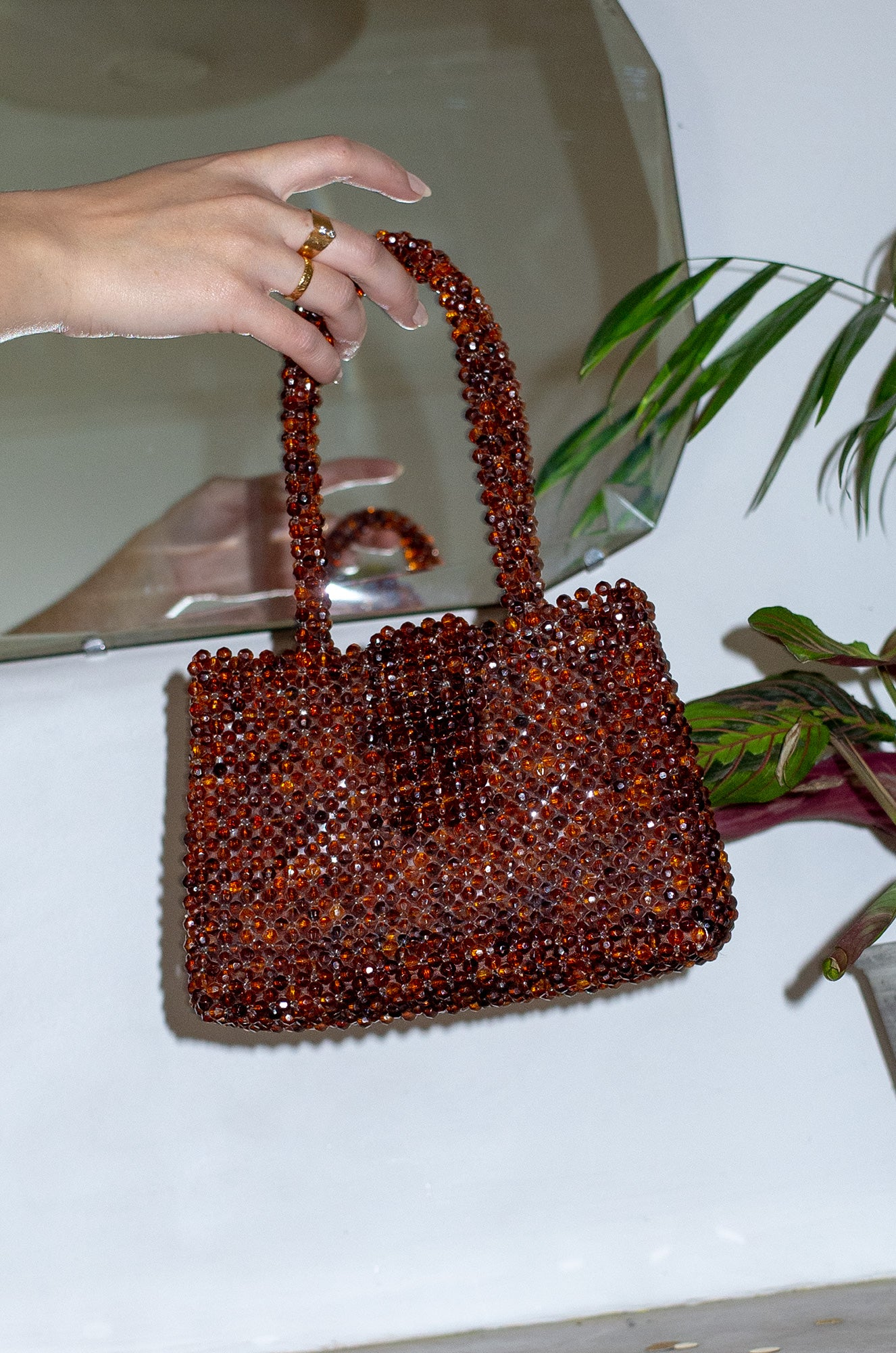 Vintage small amber crystal bead handbag