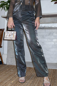 Vintage 1990s silver iridescent party trousers