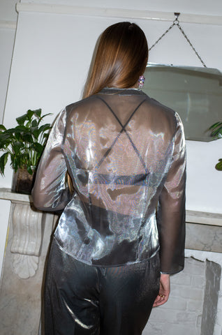 SILVER SHEER COLLARLESS BLOUSE