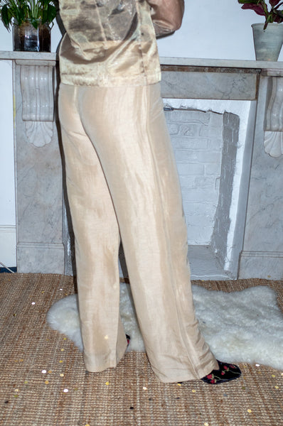 Vintage gold linen and silk wide-leg trousers by Marella (Made in Italy)