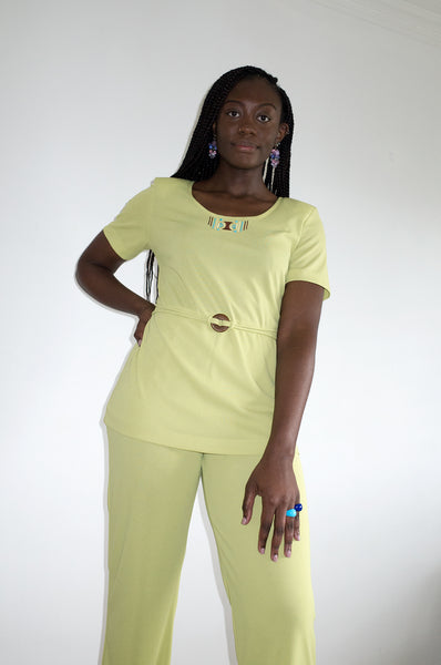 Vintage 1990s lime green cruise two-piece leisure suit by Farouche