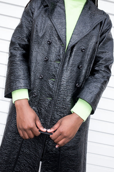 Vintage 1960s black double-breasted jacket with crinkled effect by Ascot Model