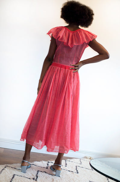 Vintage sleeveless occasion dress from the 1940s red and white striped organza frill