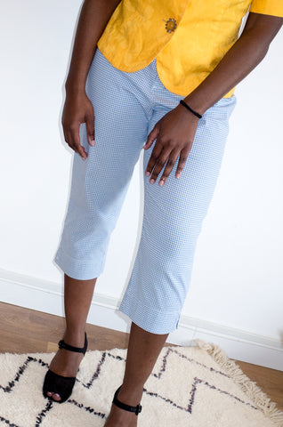 Vintage 1990s light blue gingham capri pants by Liz Claiborne